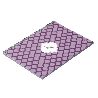 Purple Moroccan Pattern with Monogram Notebook