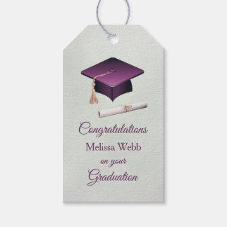Purple mortar, diploma Graduation Pack Of Gift Tags
