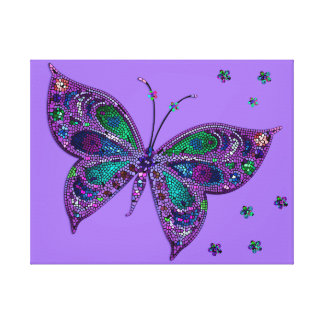 Purple Mosaic Butterfly Canvas Print