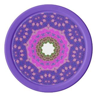 Purple Mosaic Fractal Poker Chips
