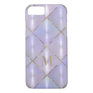 Purple Mother of Pearl with Gold Monogram iPhone 7 Case