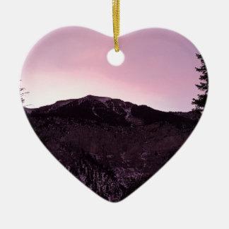 Purple mountains majesty ceramic heart ornament
