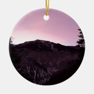 Purple mountains majesty round ceramic ornament