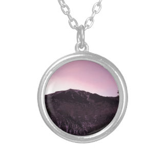 Purple mountains majesty silver plated necklace