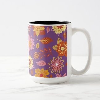 Purple mug With Flowers Orange