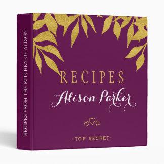 Purple mulberry gold foil leaves elegant recipes vinyl binder