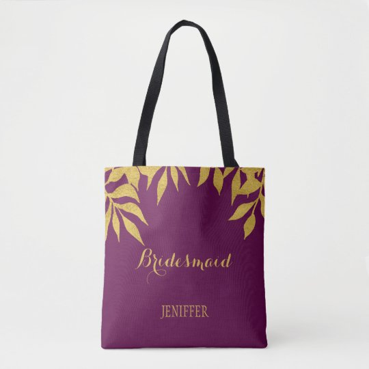 Purple mulberry gold leaves wedding bridesmaid tote bag
