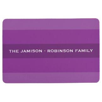 Purple Multi Stripe Custom Floor Mat with NAME