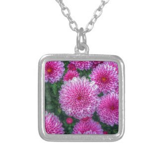 Purple Mums Silver Plated Necklace