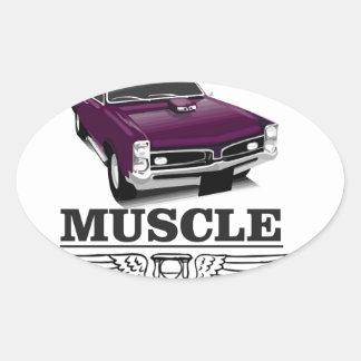 purple muscle car of power oval sticker