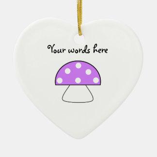 Purple mushroom ceramic ornament