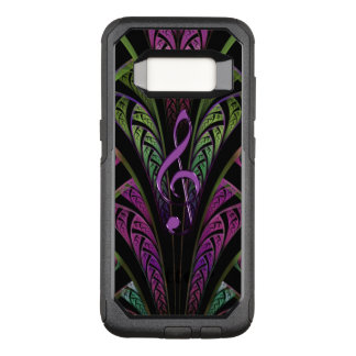 Purple Music Clef On Green Purple Fractal Galaxy OtterBox Commuter Samsung Galaxy S8 Case