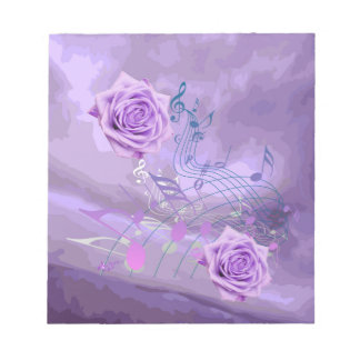 Purple Music Notes & Roses Abstract Small Note Pad