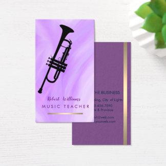 Purple Music Trumpet Instrument  Band Musician Business Card