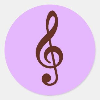 Purple Musical Note Classic Round Sticker