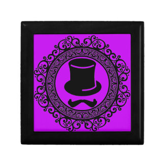 purple mustache hat hipster keepsake box
