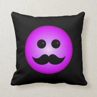 Purple Mustache Smiley Emoticon Throw Pillow