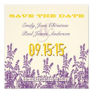 "Purple Mustard Yellow Wild Flower Save the Date 5.25"" Square Invitation Card"