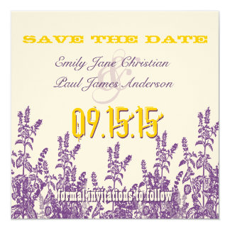Purple Mustard Yellow Wild Flower Save the Date Card