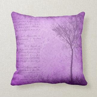 Purple Mystical Tree Script Throw Pillow