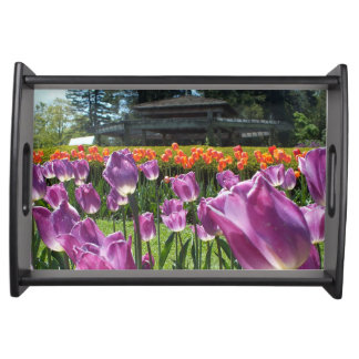 Purple N Orange Tulips And Pagoda Serving Tray