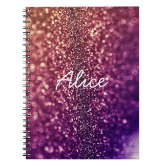 Purple named ALICE crystal glitter notebook
