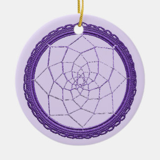 Purple Native American Dreamcatcher Round Ceramic Ornament