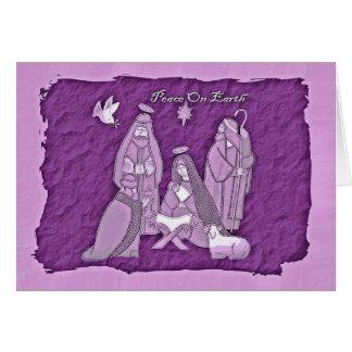 Purple Nativity Scene Greeting Card
