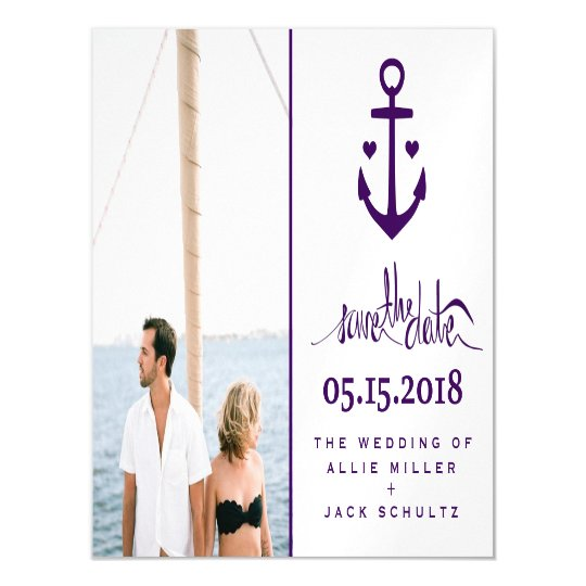Purple Nautical Wedding Photo Save the Date Magnet Magnetic Invitations