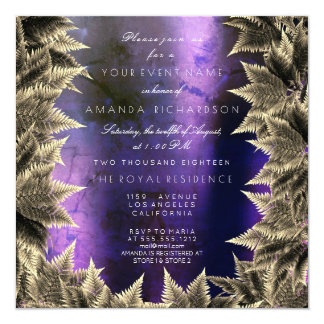 Purple Navy Blue Woodland Plant Foil Fern Card