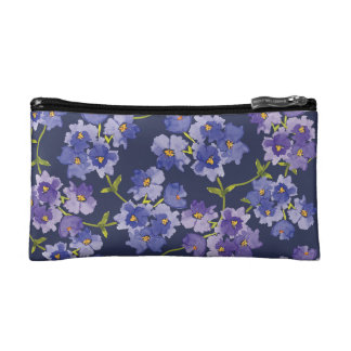Purple & Navy Watercolour Floral Cosmetics Bag