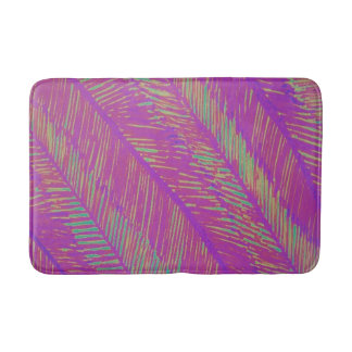 Purple Neon Palms Bath Mat