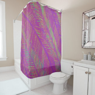 Purple Neon Palms Shower Curtain