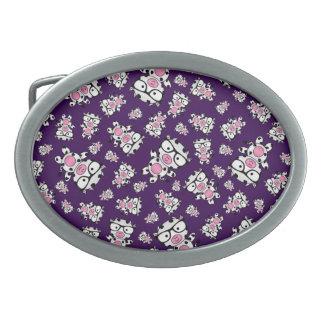 Purple nerd cow pattern belt buckle