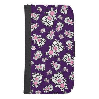Purple nerd cow pattern galaxy s4 wallet cases