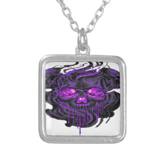 Purple Nerpul Skeletons PNG Silver Plated Necklace