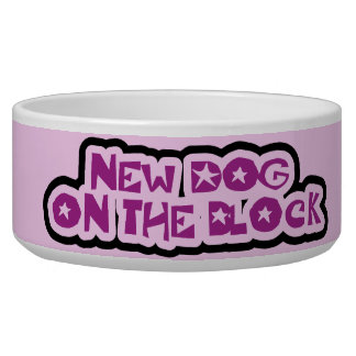 Purple New Dog on the Block Dog Dish Pet Water Bowl