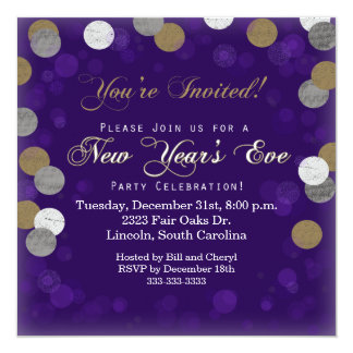 Purple New Year's Eve Party Invitation