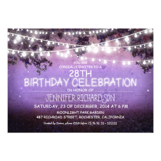 purple night & garden lights birthday invitations
