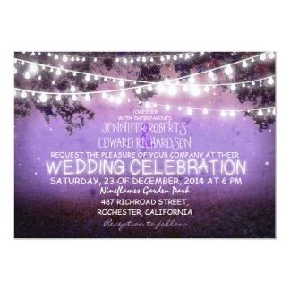 purple night & garden lights rustic wedding card