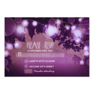 purple night lanterns wedding RSVP cards