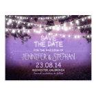 purple night lights romantic save the date postcard