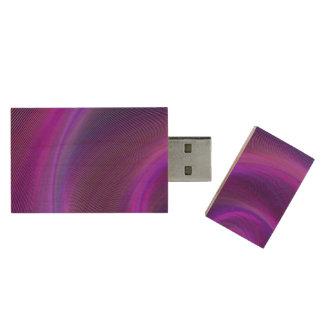 Purple night storm wood USB flash drive