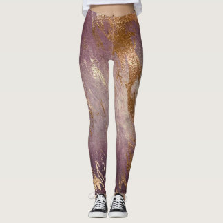 Purple Noir Gold White Abstract Marble Molten Leggings