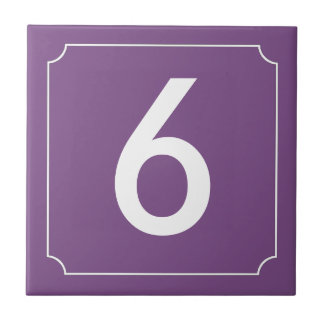 Purple number or letter placard tile