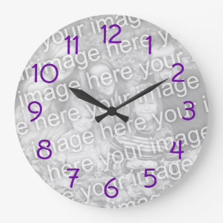 Purple Numbers Photo Wall Clock