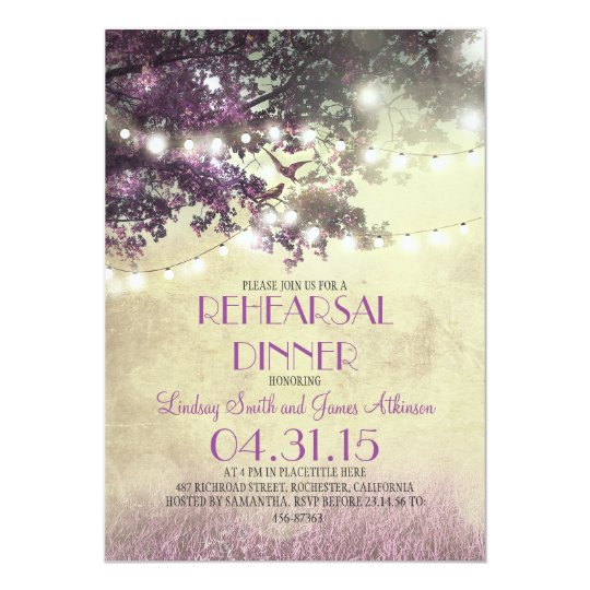 purple oak tree & birds lights rehearsal dinner card