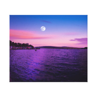 Purple Ocean Moon Color Canvas Print