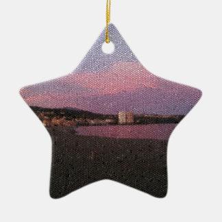Purple ocean sunset in Costa del sol Spain mosaic. Ceramic Star Ornament