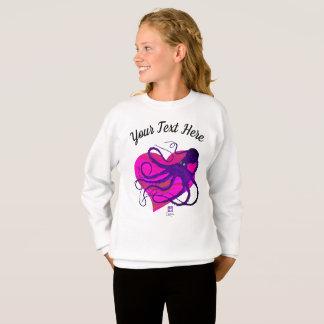 Purple Octo on Two Tone Pink ❤ - Girl's Sweatshirt
